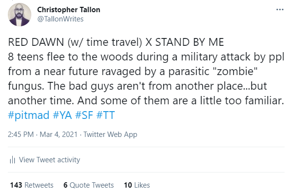 @TallonWrites tweet from #pitmad in March 2021